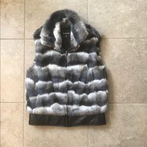 Bebe Faux Fur Vest Grey Black XS Leather Bottom